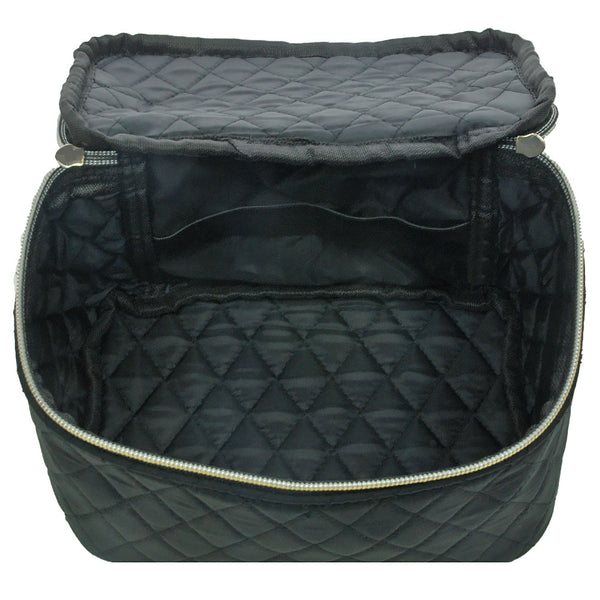 Black Quilted Cosmetic Bag
