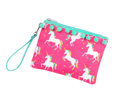Personalized this Pink Unicorn Wished Zip Pouch Wristlet