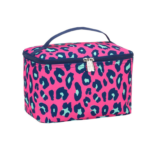 pink leopard, cosmetic bag