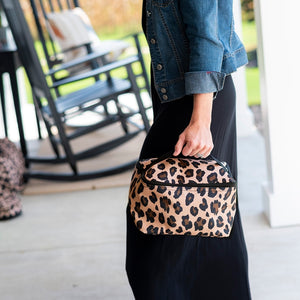 brown leopard cosmetic bag