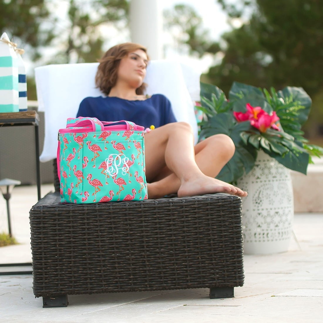 pink flamingo cooler tote