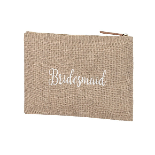 bridesmaid, natural zippered pouch