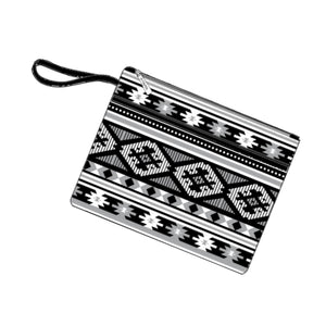 Personalized this Black and White Aztec Zip Pouch Wristlet