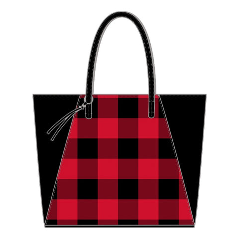 checkered tote, red check tote, red buffalo tote
