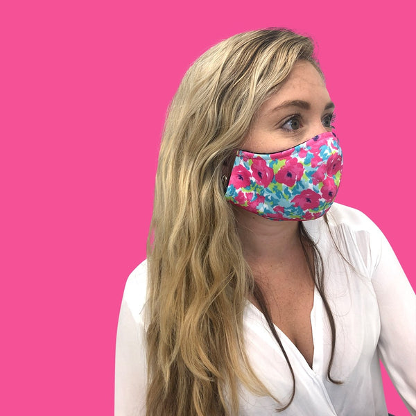 Pink Floral Adjustable Adult Face Cover