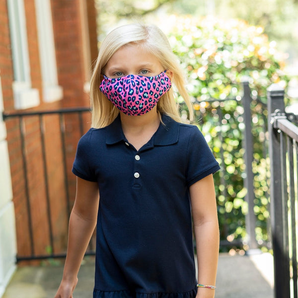 Pink Leopard Adjustable Kids Face Cover