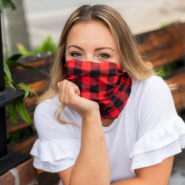 Red Checkered Neck Gaiter