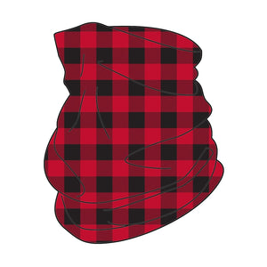 red buffalo, checkered, neck gaiter, face cover