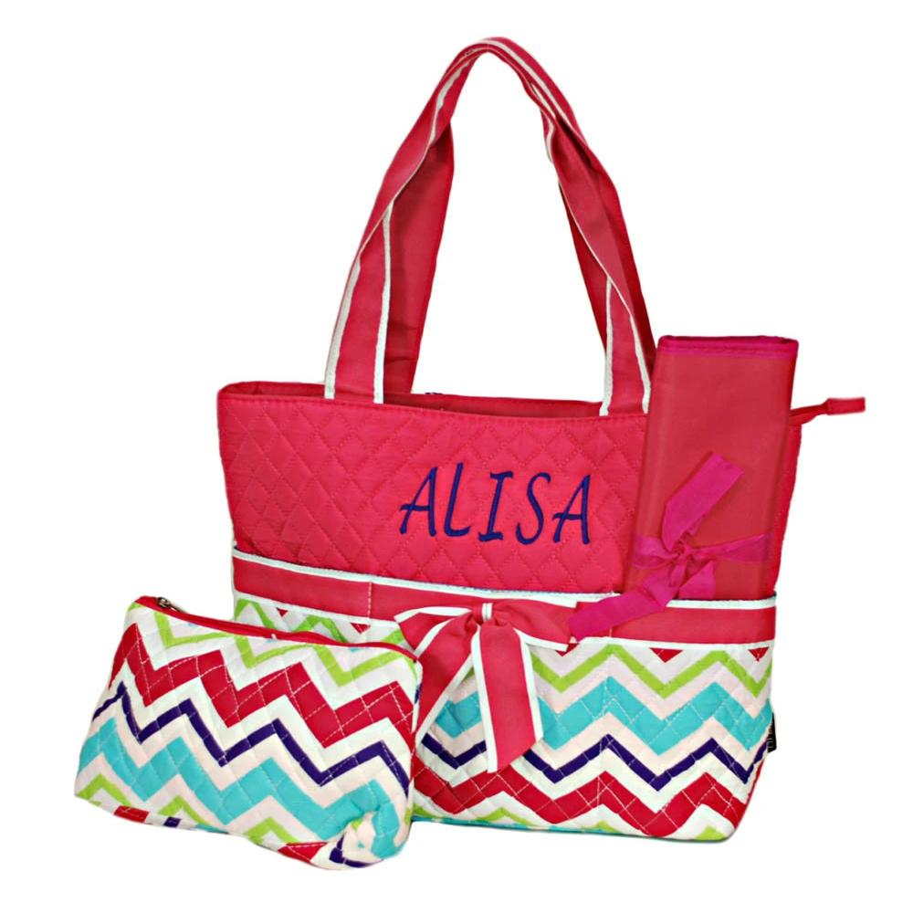 Personalized this Multi Chevron Toddler Diaper Bag.