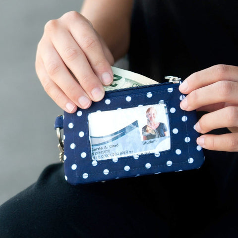 navy dotted id case