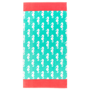 Personalized this Coral Trim Seahorse Towel