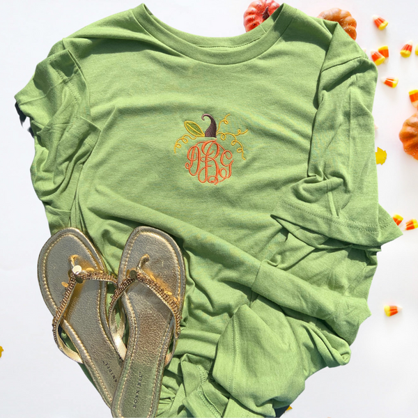 pumpkin tee, pumpkin shirt, green shirt, fall shirt