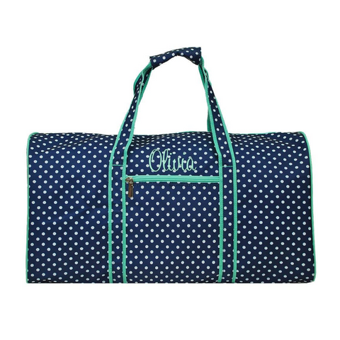 Navy Polka Dot with Mint Trim Duffle Bag 21""