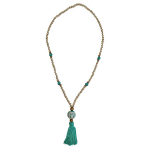 blue necklace tassel, tassel necklace