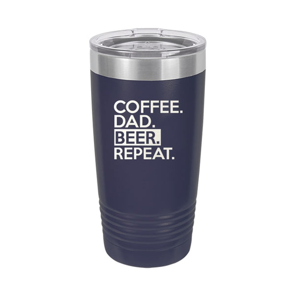 Navy Coffee.Dad.Beer.Repeat Insulated Tumbler 20oz