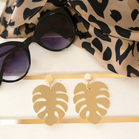 gold palm earrings