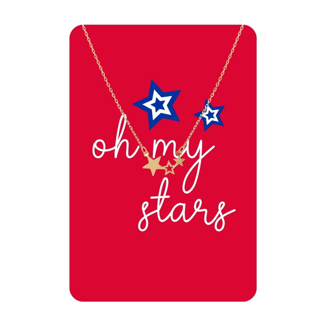 Gold Oh My Stars Necklace Card