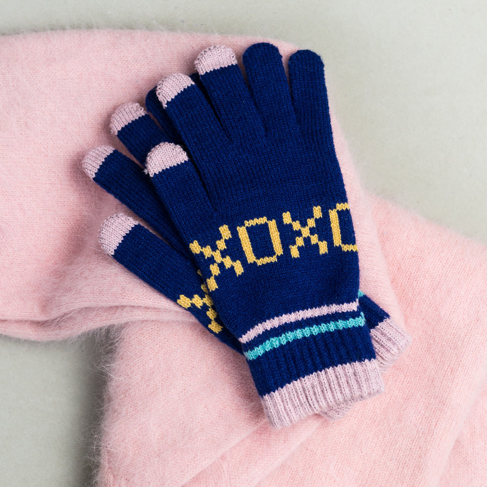 Touchscreen gloves - blue XOXO