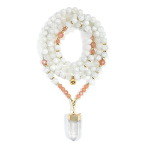 I Am Divine Feminine: Moonstone Sunstone Mala necklace made with white Rainbow moonstone and orange Sunstone beads with Quartz Crystal point as a focal.