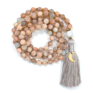 sunstone mala necklace knotted on gray silk with white moonstone guru bead, gray tassel and gold moon crescent charm