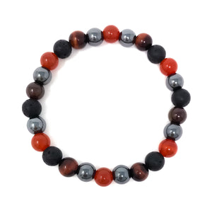 Fertility Bracelet for Men with Carnelian, Hematite, Red Tiger's Eye & Garnet