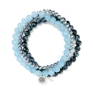 Blue Aquamarine, black and grey Snowflake Obsidian & Silver Hematite Healing Bracelet Set with silver Om charm and silver Moon charm