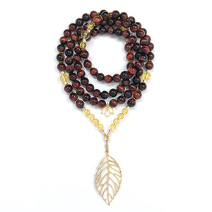I Am Confident & Motivated: Red Tiger's Eye & Citrine Mala necklace handmade with Red Tiger's Eye and Citrine gemstones with a leaf pendant