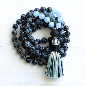 Snowflake Obsidian Aquamarine Mala Necklace, yoga jewelry