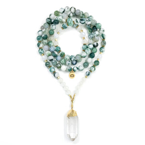 I Am Happy & Free: Tree Agate & Moonstone Mala necklace handmade with green Tree Agate and white Rainbow Moonstone with Quartz Crystal point