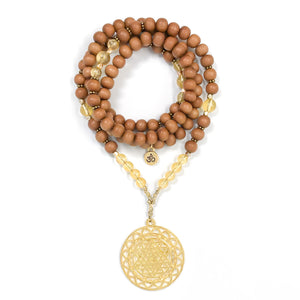 I Am Blessed: Sandalwood & Citrine Mala necklace handmade with sandalwood beads and citrine gemstone with Sri yantra pendant