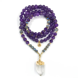 I Am One with the Universe: Amethyst & Labradorite Mala necklace handmade with purple Amethyst and gray Labradorite with rainbow flashes. Quartz Crystal focal point.