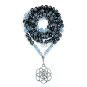 Black and gray Snowflake Obsidian & blue Aquamarine Mala Necklace with silver lotus charm and seed of life charm