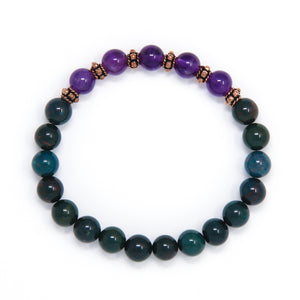 Indian Bloodstone Amethyst Mala Bracelet, yoga jewelry