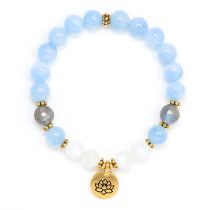 Aquamarine Moonstone Mala Bracelet, yoga jewelry