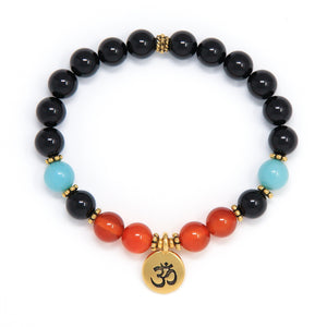 Black Tourmaline Carnelian Amazonite Mala Bracelet, yoga jewelry