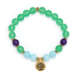 Green Aventurine & Amazonite Mala Bracelet, Choose Your Charm