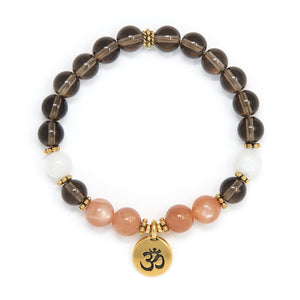 Smoky Quartz Sunstone Moonstone Mala Bracelet, spiritual jewelry