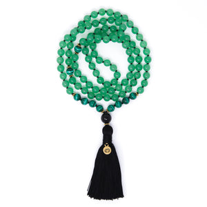 Green Aventurine Malachite Mala Necklace, yoga jewelry