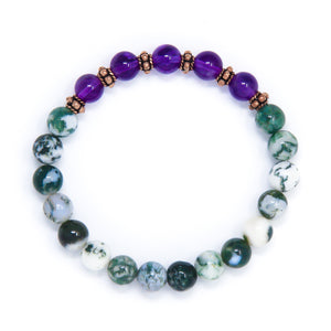 Tree Agate Amethyst wrist mala beads, yoga jewelry