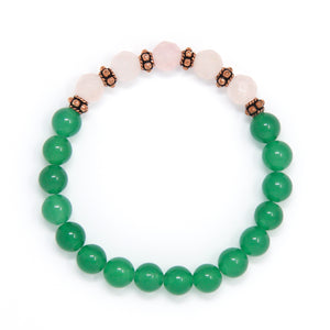 Green Aventurine Rose Quartz Mala Bracelet, yoga jewelry