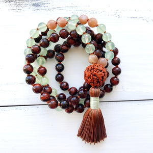 Red Tiger's Eye Prehnite Mala Necklace, crystal healing jewelry