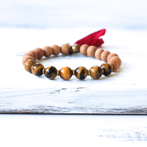 Tiger's Eye Sandalwood Mala Bracelet, boho jewelry