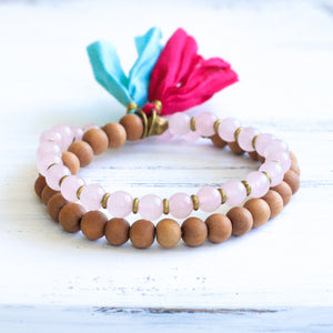 Rose Quartz Sandalwood Mala Bracelet