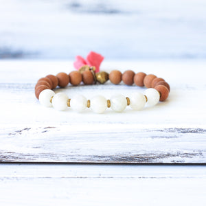 Moonstone Sandalwood Mala Bracelet, yoga jewelry