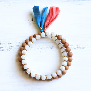 Moonstone Sandalwood Mala Bracelet with Tassel, yoga jewelry