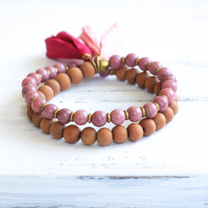 Rhodonite Sandalwood Mala Bracelet with Tassel, yoga jewelry