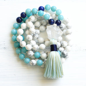 Howlite Amazonite Mala Necklace