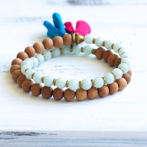 Amazonite Sandalwood Mala Bracelet with Tassel