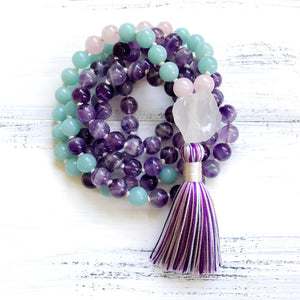 Chevron Amethyst Amazonite Mala Necklace