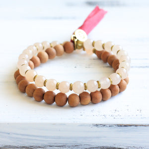 Peach Quartz Sandalwood Mala Bracelet with Tassel